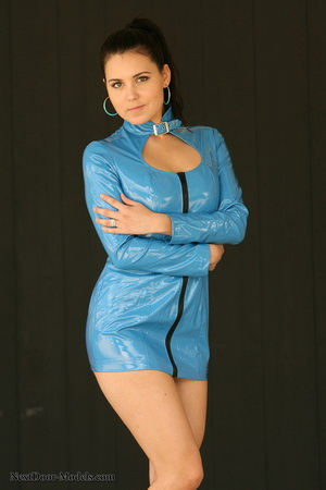 Bailey wants to be a a Bond girl in her shiny blue vinyl dress