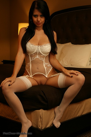 White garters and thigh highs love being wrapped around Chrissy's body
